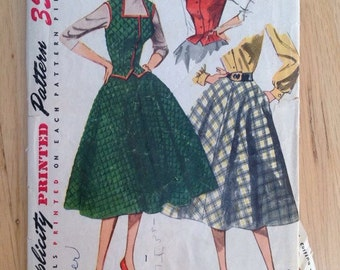 Vintage 1950s Simplicity 3981 Misses Weskit and Skirt