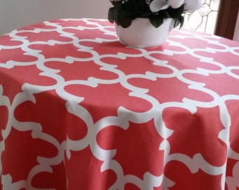 Round tablecloth Fynn coral cotton fabric.