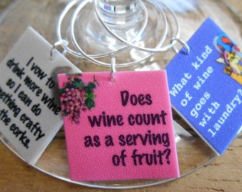 Funny Wine Sayings Wine Charms to choose from 'Your Wine Glasses deserve COOL SASSY Jewelry' Glam up your next party Fast Shipping