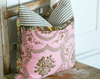 Pink Cottage Chic Pillows,  Boho Pillow, Farmhouse Pillows, Accent Pillows, Shabby Chic Pillows, Brown Loopy Floral Pillow, Ticking Stripe