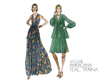 1970s Evening Dress and Jacket Pattern Teal Traina Vogue Tie Front Dress Americana Designer Vogue 1074 Bust 36 Vintage Sewing Pattern