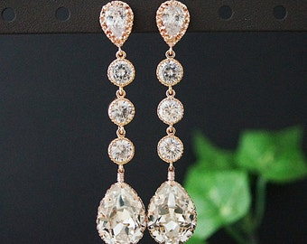 Wedding Bridal Jewelry Bridal Earrings Bridesmaids Dangle Earrings cubic zirconia connectors and Swarovski Crystal tear drop in Rose Gold
