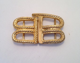 Vintage Belt Buckle Gold Tone Monogram B 1960s
