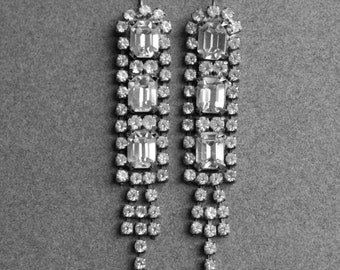 Art Deco Long Paste Earrings / Gatsby Wedding Earrings