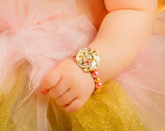 Gold Pink Rose Bracelet Baby Girl Beaded Pearl Shiny Fabric Rosette Newborn photo prop baby shower gift Infant Jewelry First Birthday Outfit