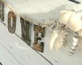 Custom Banner -  Rusty Metal Banner -  Shabby Home Banner - Rustic Decor - Country Banner - Homespun garland - Wedding Decor - Home Decor