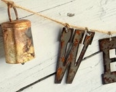 Rustic Welcome Sign Wind chime, Primitive Windchime, Rusty letters, Cowbells Shabby Metal Wind Chime, Outdoor Welcome Sign, Farmhouse Decor
