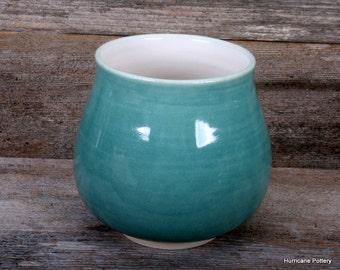 Aqua Ceramic Flatware Caddy. Hand Thrown Stoneware Pottery. Small Utensil Holder. Hurricane Pottery