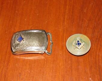 Antique Masonic belt buckle and tie slide
