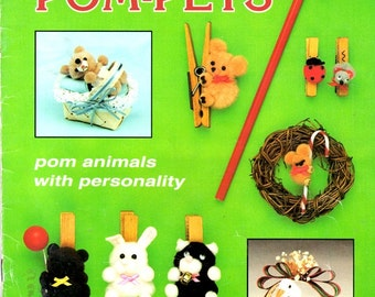 Katie's Pom-Pets Animals with Personality Dog Rabbit Bear Ladybug Duck Reindeer Pig Package Ornaments Decorations Craft Pattern Leaflet
