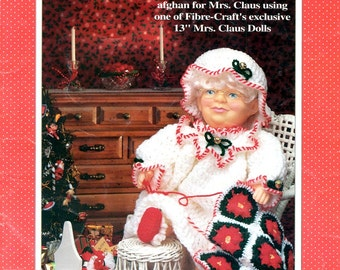 Bedtime Mrs Santa Claus Crochet 13 Thirteen Inch Doll Clothes Night Gown Cap Slippers Afghan Candy Cane Stripes Craft Pattern Leaflet FCM361