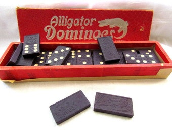 26 Vintage Wooden Alligator Dominoes Not A Complete Set For Repurpose