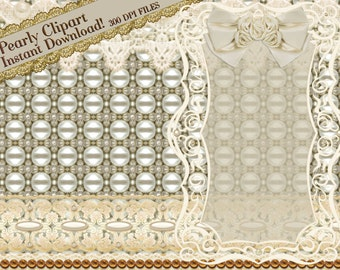 Lace Clipart, PEARL Clipart, WEDDING Clipart, Lace Graphics