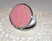 Bridesmaid Gift - Pink and Gold Glitter Pill Tin - Pill Box - Pill Container - Silver Tone Pill Case - 004