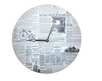 Newspaper Wall Clock - News Print Wall Clock - Black and White Recycled Home Decor  - Large Wall Clock - Unique Wall Decor - 2367