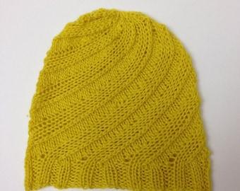 Handknit Yellow Newborn Baby Swirl Hat