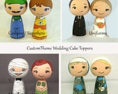 Custom Theme Wedding Cake Toppers Superhero Sporst Fan Uniform Fantasy Wood Kokeshi DollCake Toppers