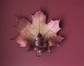 Red Maple Leaf wall sconce glitters of gold