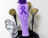Golf Club Cover, Golf Head Cover, Golf Club Head Covers, Knit Golf Headcover, Pancreatic Cancer, Charity, Purple Ribbon