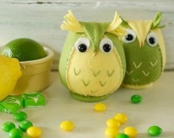 Felt Owl sewing kit , Tuttti Frutti,Lemon and Lime,Felt Plushie,sewing Kit