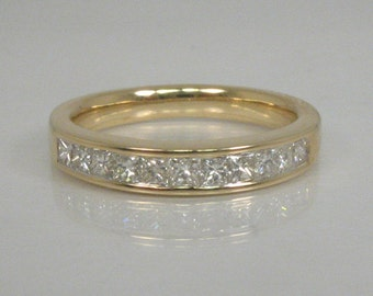 Princess Cut Diamond Wedding Band - Estate 0.50 Carats - Appraisal Included