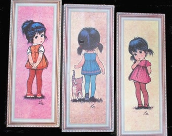 BIG EYE Shy GIRLS - Set Of Three Lithographs By Lee / Soroka 1971