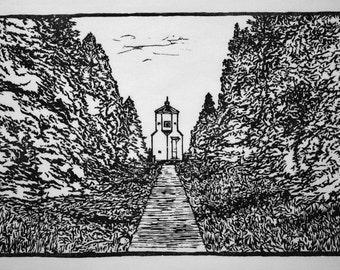 Lower Range Light, Ridges Sanctuary, Bailey's Harbor, Door County Wisconsin, handmade woodblock print