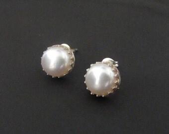 Sterling Silver Earrings, Pearl Earrings, Crown Earrings,  Studs, Stud Earrings, Jewelry, Gift