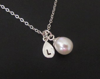 Sterling Silver Necklace, Teardrop Necklace, Pearl Necklace, Initial Necklace, Personalized Necklace, Personalized Jewelry, Pendant, Gift
