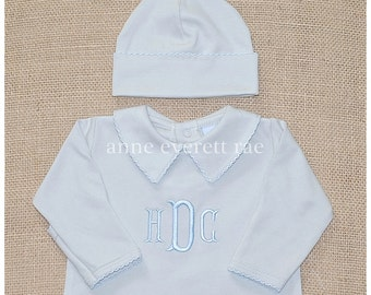 Gray Baby Boy Coming Outfit-Timmy's Footed Sleeper-Newborn Pictures, Baby Boy Shower Gift