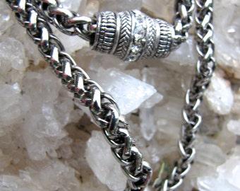 Silver Renaissance Weave Chain /  Gothic Boho/ Hippie /Biker  Rope Choker Chain