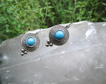 Vintage Ethnic Turquoise Silver Earrings Rope Design Turquoise Earrings