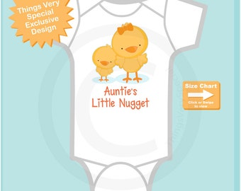 Cute little chicken nugget Onesie Bodysuit or Tee Shirt, Says Auntie's Little Nugget. (02172015e)