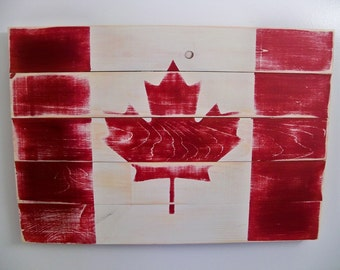 "Distressed Canadian Flag Wood Wall Hanging 25.5"" x 17.5"""