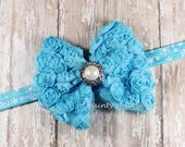 Large Chiffon Rose Mesh Turquoise Bow on Snowflake Blue Elastic Headband - Photo Prop - Newborn Headband - Winter Headband - Baby Headband