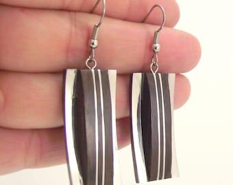 Modern Wood and Silver Earrings, Rectangular Silver Earrings