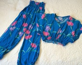 Hawaiian Vintage Cropped Top and High Waisted Heiress Pants 1980s