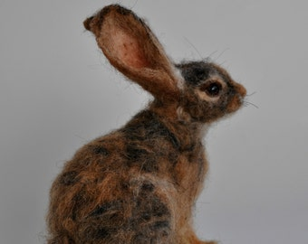 Needle felted  animal.  Cottontail Rabbit Felted soft sculpture.Wool Felt Animals.