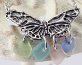 SALE! 40% off 42.50 Four Shards of Genuine Sea Glass Pewter Butterfly Necklace