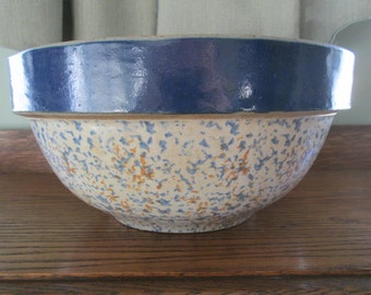 Blue Stripe Spongeware Stoneware Mixing Bowl Banded Bowl  Country Cottage Living Home Decor