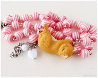 Cat Necklace, Beaded Pink Stripe Chain, Miniature Figure Pendant - Sweet Lolita