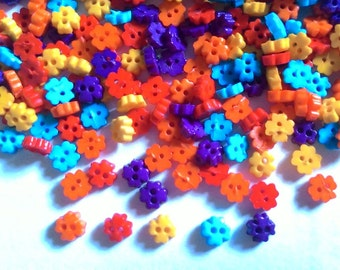 200 pcs tiny Clover flower button 4mm  mix color for doll costume crafts