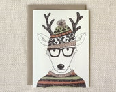 Sale 50% Off - Holiday Card - Hipster Reindeer