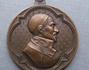 Saint Vincent De Paul  Antique French Religious Medal Signed Penin SS-296