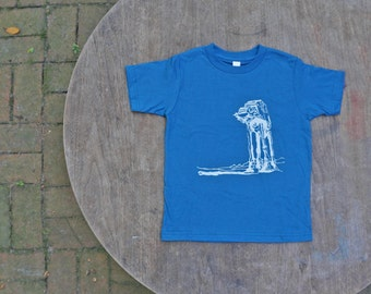Star Wars AtAt Walker T-shirt American Apparel Galaxy Blue Organic Tee for Kids
