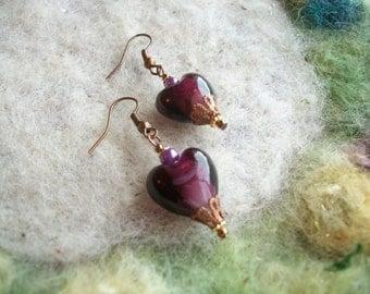 Heart Earrings,Shabby Vintage Style Earrings, Lamp Work Heart Beads, Love/Valentine/Gift