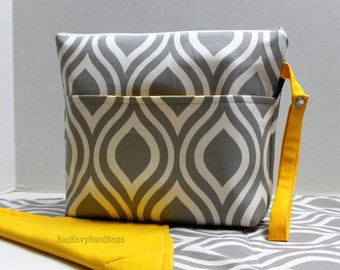 Large Zippered Diaper Clutch Set / Toddler Bag - Attach to Stroller - Grey Modern Drop with Yellow