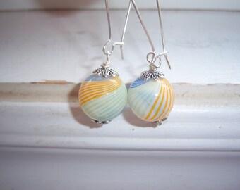 Swirl Earrings  -Wedding Earrings -  Glass Orb Earrings - Free Gift With Purchase