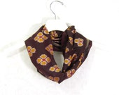 Sari Silk Infinity Scarf Gift for Her Circle Scarf Spring Scarf Summer Scarf Lightweight Scarf Brown Scarf Upcycled Scarf OOAK Eco Fashion