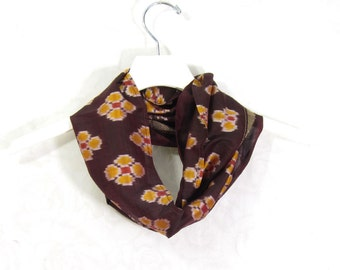 Gold Brown Scarf Infinity Scarf Gift for Her Circle Scarf Spring Scarf Summer Scarf Lightweight Scarf Fall Scarf Upcycled Scarf Eco Fashion